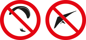 forbidden for paragliders and hang-gliders