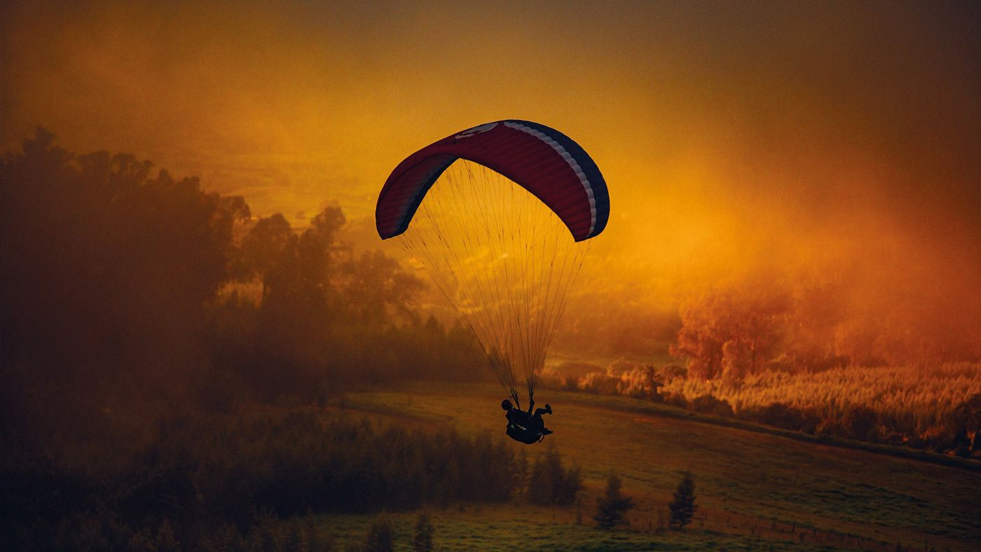 Paragliding in Veneto at sunset