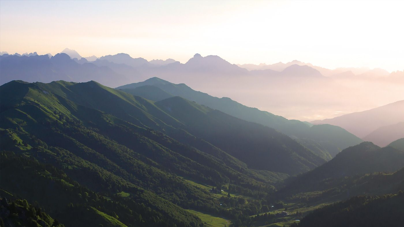 Aerial view at sunset on the mountains near the Grappa area