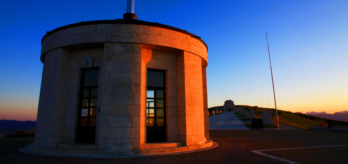 The ossuary of Monte Grappa at sunset