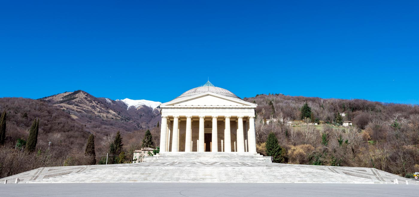 The Canova Temple in Possano in the Province of Treviso. The Neoclassical church was consecrated in 1832