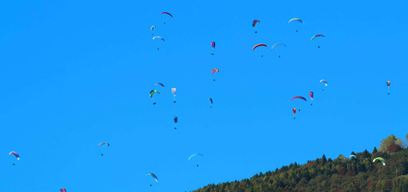 Photo taken during Testival, an international paragliding competition in Veneto on Monte Grappa
